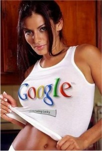 "Sexy woman wearing a tank top that says ""google"""
