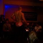 Auctioning off underwear for the charity, man dancing in his underwear